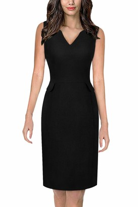Moyabo Women's Sleeveless Cocktail A-Line V Neck Party Summer Wedding Guest Dress Black Small