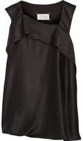 Maison Margiela Draped Silk-charmeuse Top - Black