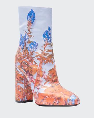 Dries Van Noten Flower-Print Fabric Booties