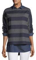 Lafayette 148 New York Bateau-Neck Striped Wool Jersey Pullover