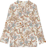 Maje Pussy-bow Floral-print Crepe De Chine Blouse - White