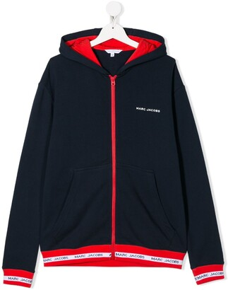 Little Marc Jacobs TEEN contrast zip hoodie