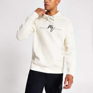 River Island Mens White twill Maison Riviera slim fit hoodie