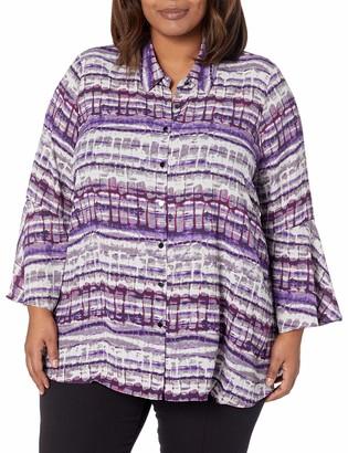 Jones New York Women's Plus Size Flounce Longsleeve Top with Front Button Placket