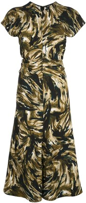 Proenza Schouler Feather Print Cinched Waist Dress