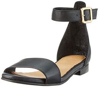 Selected Women's Slfmerle Leather Flat Sandal B Ankle Strap, Black (Black Black)