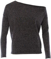 Minnie Rose Lurex Slouchy One Shoulder Sweater