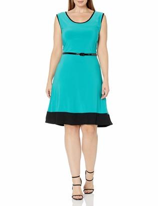 Star Vixen Women's Plus Size Sleeveless Short Ity Knit Skater Dress Colorblock Hem and Narrow Belt