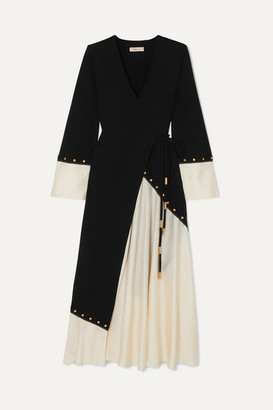Tory Burch Embellished Two-tone Crepe And Satin Wrap Midi Dress - Black