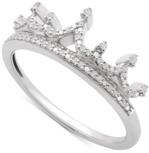 Wrapped Diamond Crown Statement Ring (1/10 ct. t.w.) in 14k White Gold, Created for Macy's