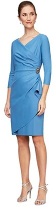Alex Evenings Short Scuba Sheath Dress with 3/4 Sleeves (Sky Blue) Women's Dress