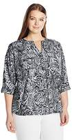Notations Women's Petite Size 3/4 Sleeve Printed Y Neck Blouse