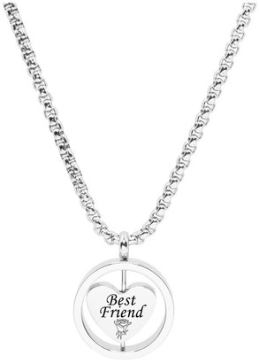 Rotating Heart Necklace by Pink Box BEST FRIEND