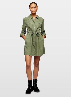 Miss Selfridge Khaki Utility Shirt Dress
