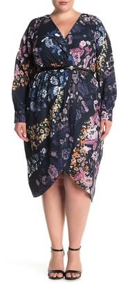 City Chic Shadow Vine Floral Belted Faux Wrap Midi Dress (Plus Size)