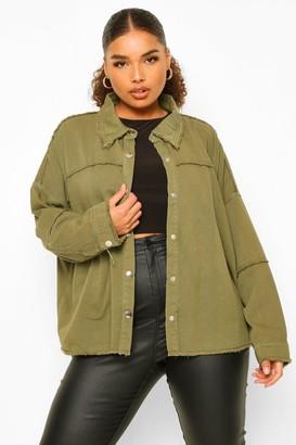 boohoo Plus Outer Seam Detail jean jacket
