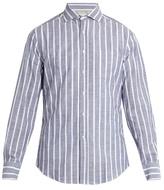Brunello Cucinelli French-collar Striped-cotton Shirt