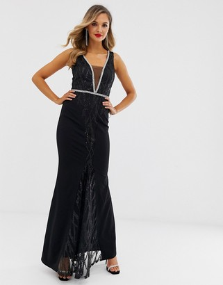 City Goddess sequin and chiffon wrap maxi dress