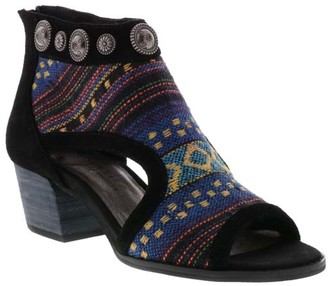 Volatile Women's Casual boots BLACK/MULTI - Black Geometric Open-Toe Jewelle Leather Bootie - Women