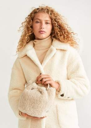 MANGO Faux shearling bucket bag beige - One size - Women