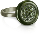 Forzieri Azhar Olive Green Cubic Zirconia and Sterling Silver Ring
