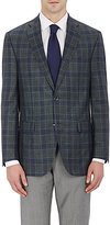 Piattelli MEN'S PLAID TWO-BUTTON SPORTCOAT-GREEN SIZE 46 R