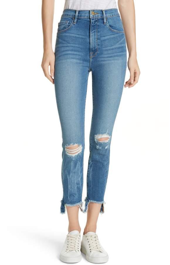 Frame Ali Ripped High Waist Crop Skinny Jeans