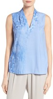 T Tahari Women's Edie Print Pleat V-Neck Blouse
