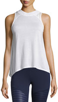 Alo Yoga Crest Lace-Panel Sport Tank Top, White