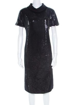Gianfranco Ferre Black Sequin Embellished Wool Dress M