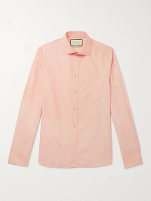 Gucci Peach Cutaway-Collar Cotton-Poplin Shirt