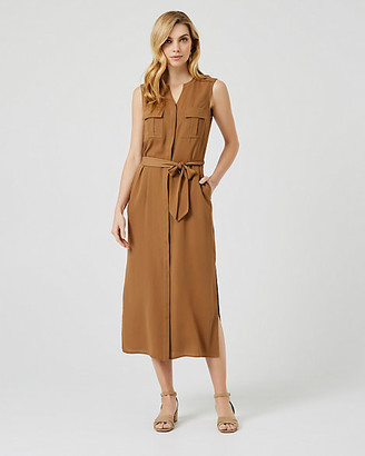 Le Château Belted Crepe de Chine Maxi Dress