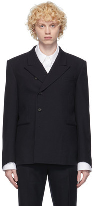 System Navy Side Button Blazer
