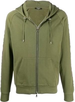 Balmain embossed logo zip-up hoodie