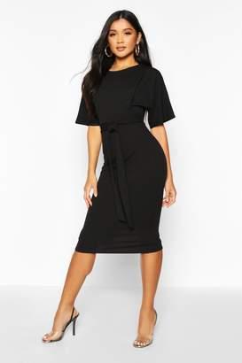 boohoo Tie Waist Formal Wiggle Midi Dress