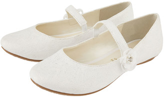Monsoon Tiana Shimmer Lace Corsage Ballerina Shoes Ivory