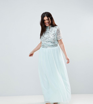 Asos Frock And Frill Plus Premium Embellished Top Maxi Dress-Blue
