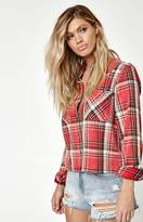 La Hearts Cropped Plaid Shirt