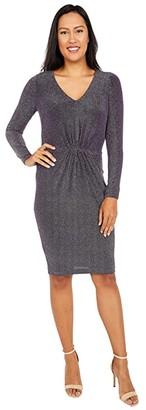 Calvin Klein V-Neck Glitter Jersey Dress (Night) Women's Dress