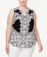 INC International Concepts Plus Size Printed Zip-Pocket Top, Created for Macy's