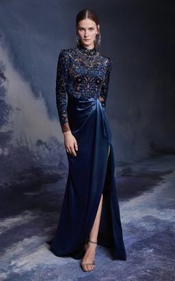 Marchesa Long Sleeve Mock Neck Velvet Gown