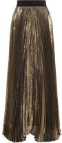 Alice + Olivia Katz Plissé Silk-blend Lamé Maxi Skirt - Gold