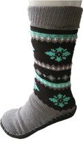 Line Walker Women's Chunky Cable Knit Thermal Fleece Lined Slipper Socks