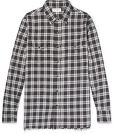 Saint Laurent Distressed Checked Cotton-flannel Shirt - Gray