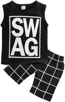 Magical Baby Little Boys Sleeveless Letters Print Tank Top and Lattice Shorts Outfit (100(2-3Y))