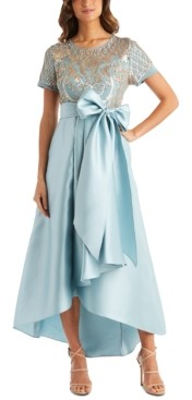 R & M Richards Sequins & Satin High-Low Gown
