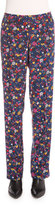 Kenzo Small Tanami Flower Silk Straight-Leg Pants, Peacock