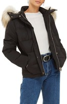 Topshop Women's Jerry Faux Fur Trim Puffer Jacket