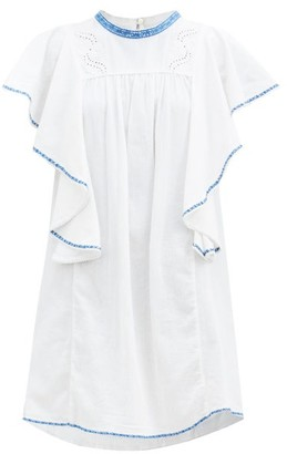 Etoile Isabel Marant Reyes Ruffled Embroidered Cotton Dress - Blue White