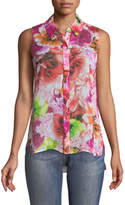 CeCe by Cynthia Steffe Floral-Print Sleeveless Button-Front Blouse